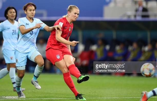 Samantha Mewis of USA scores their 4th goal during the 2019 FIFA Women's World Cup France group F match between USA and Thailand at Stade Auguste...