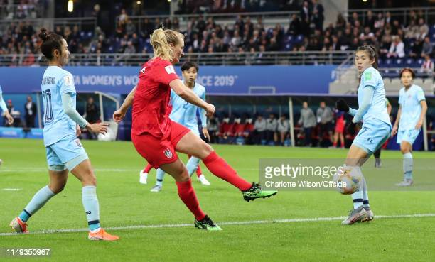 Samantha Mewis of USA scores their 6th goal during the 2019 FIFA Women's World Cup France group F match between USA and Thailand at Stade Auguste...