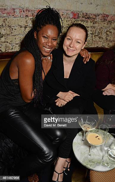 Samantha Morton and Aicha McKenzieCEO AMCK Models attends the launch of Tom Ford's new fragrance 'Noir Extreme' at The Chiltern Firehouse on January...