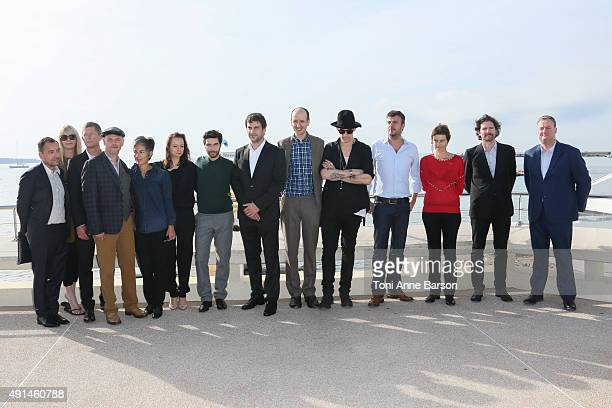 Samantha Morton Tahar Rahim and Goran Bogdan attend 'The Last Panthers' photocall as part of MIPCOM 2015 on La Croisette on October 5 2015 in Cannes...