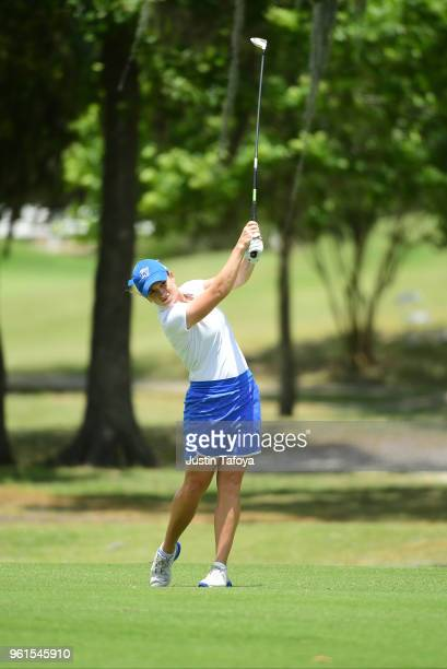 Samantha Moss of Grand Valley State hits the ball during the Division II Women's Golf Championship held at Bay Oaks Country Club on May 19 2018 in...