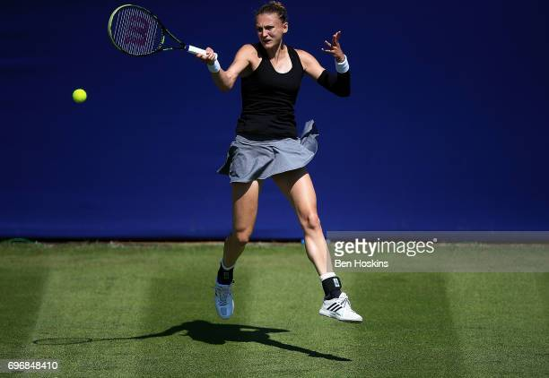 Samantha Murray of Great Britain hits a forehand during the qualifying match against Grace Min of The USA at Edgbaston Priory Club on June 17 2017 in...