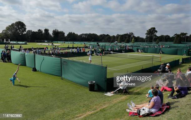 Samantha Murray of Great Britain serves during her victory over Cristina Bucsa of Spain on Court 16 in the second round of women's singles matches of...