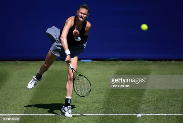 Samantha Murray of Great Britain serves during the qualifying match against Grace Min of The USA at Edgbaston Priory Club on June 17 2017 in...