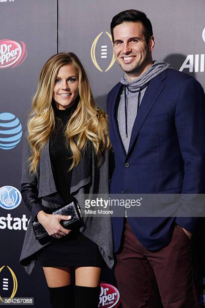 Samantha Ponder and Christian Ponder attend the Allstate party at the Playoff Blue Carpet on January 9 2016 in Phoenix Arizona