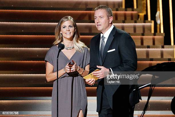 Samantha Ponder and Kirk Herbstreit speak onstage during the 50th annual CMA Awards at the Bridgestone Arena on November 2 2016 in Nashville Tennessee