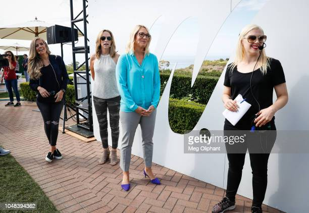 Samantha Ponder Beth Mowins and Doris Burke of ESPN prepare to go onstage at the espnW Summit held at Resort at Pelican Hill on October 2 2018 in...