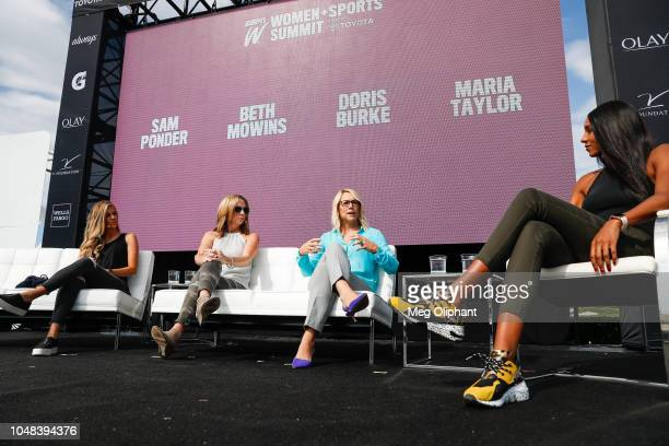 Samantha Ponder Beth Mowins and Doris Burke of ESPN talk with Maria Taylor about breaking barriers in sports media at the espnW Summit held at Resort...