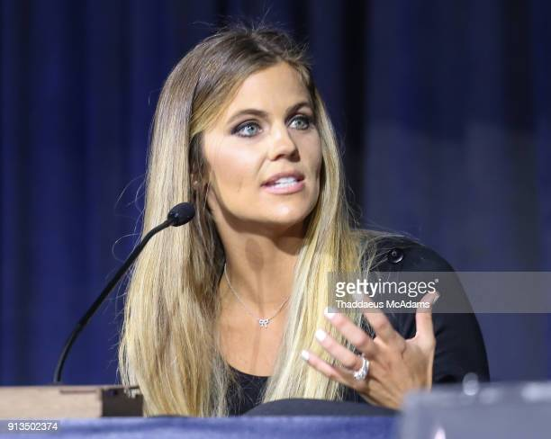 Samantha Ponder speaks at Inside the Game QA presented by IFA on February 2 2018 in Minneapolis Minnesota