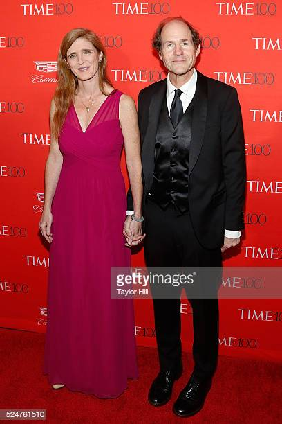 Samantha Power and Cass Sunstein attend the 2016 Time 100 Gala at Frederick P Rose Hall Jazz at Lincoln Center on April 26 2016 in New York City