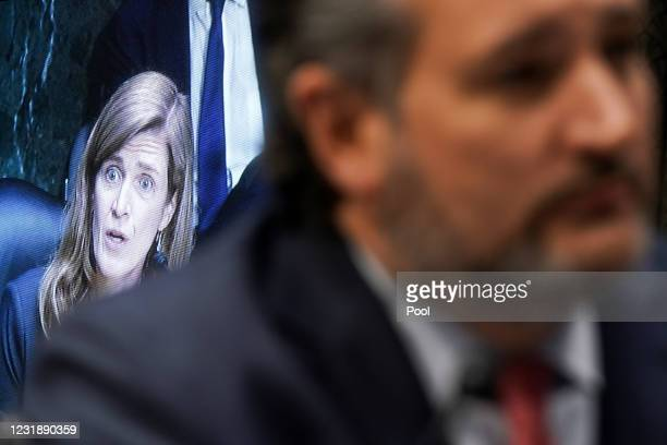 Samantha Power, nominee to be Administrator of the U.S. Agency for International Development, is seen on a screen as she answers a question from Sen....