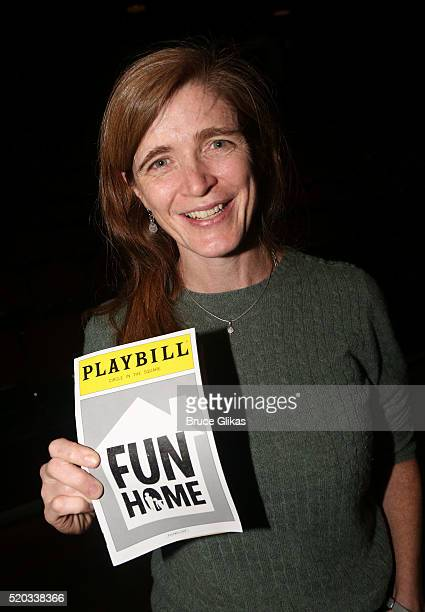 Samantha Power poses backstage at the hit musical Fun/Home on Broadway at The Circle in The Square Theatre on April 10 2016 in New York City