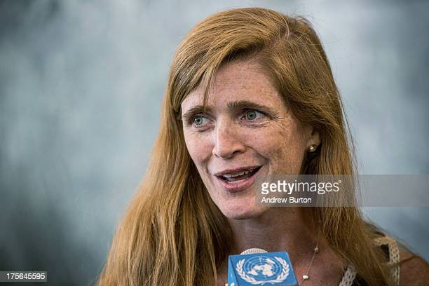 Samantha Power speaks to members of the media while arriving at the United Nations for the first time as the United States Ambassador to the UN on...