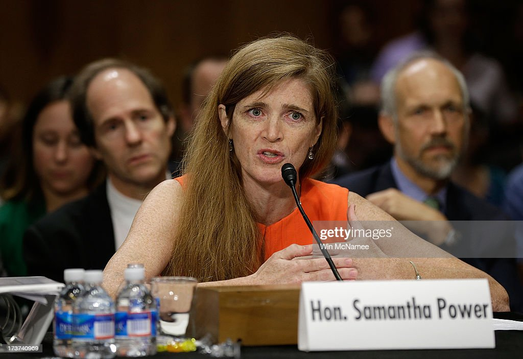 Samantha Power, the nominee to be the U.S. representative to the United Nations, testifies before the Senate Foreign Relations Committee July 17, 2013 in Washington, DC. Power has received broad bipartisan support for her nomination.