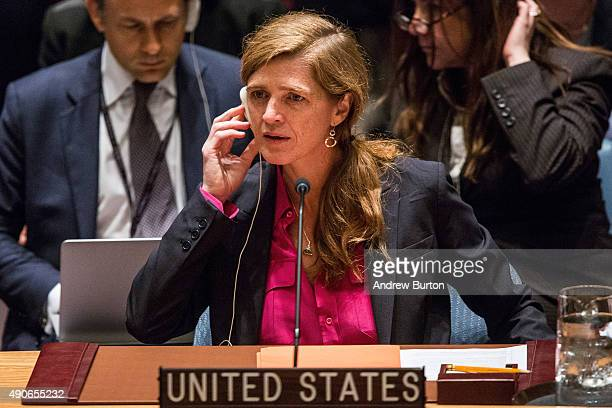 Samantha Power United States Ambassador to the United Nations attends a UN Security Council meeting on September 30 2015 in New York City The...