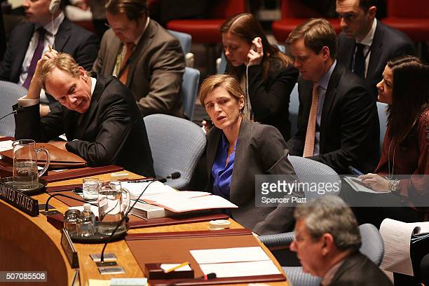 Samantha Power United States Ambassador to the United Nations listens to speakers at a United Nations Security Council about the humanitarian crisis...