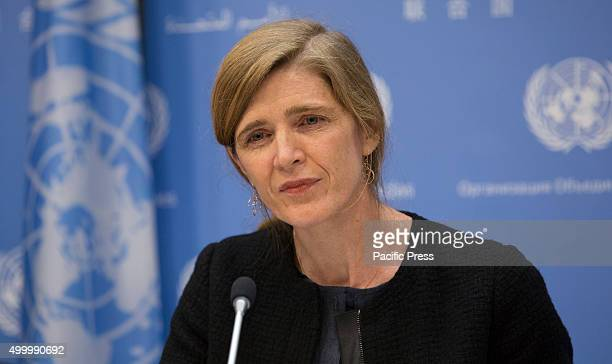 Samantha Power United States Permanent Representative to the UN and President of the Security Council for December briefs journalists on the Councils...