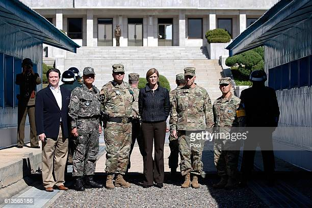 Samantha Power US Ambassador to the UN poses for photographers at the Military Demarcation Line in the border village of Panmunjom between South and...