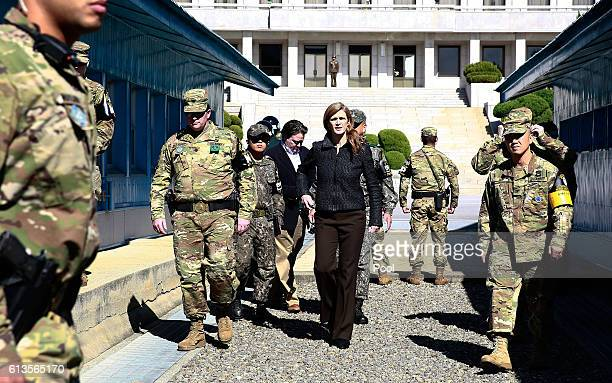 Samantha Power US Ambassador to the UN visits at the Military Demarcation Line in the border village of Panmunjom between South and North Korea on...