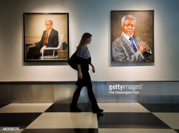 Samantha Power US Ambassador to the United Nations walks past portraits of former UN Secretary Generals Boutros BoutrosGhali and Kofi Annan in the...
