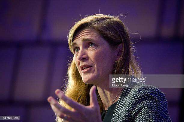 Samantha Power US permanent representative to the United Nations speaks during Bloomberg's fourthannual Year Ahead Summit in New York US on Tuesday...