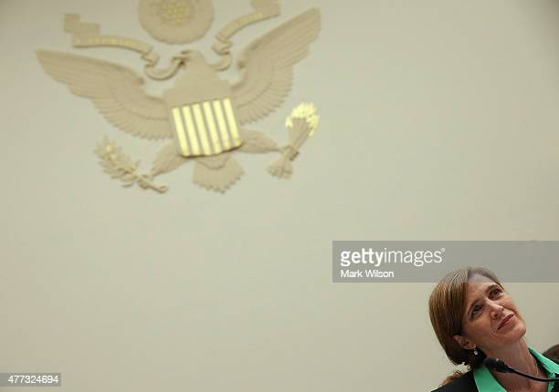 Samantha Power US Representative to the United Nations listens to testimony during a Foreign Affairs Committee hearing on Capitol Hill June 16 2015...