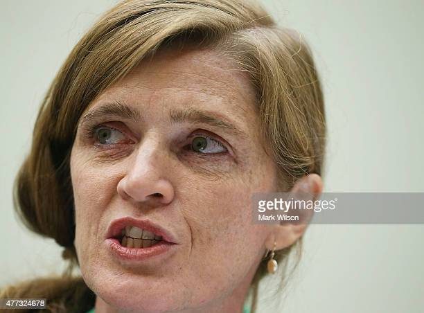 Samantha Power US Representative to the United Nations testifies to House during a Foreign Affairs Committee hearing on Capitol Hill June 16 2015 in...