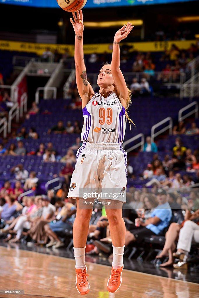 Samantha Prahalis #99 of the Phoenix Mercury shoots a three-pointer against the Japanese National Team during a WNBA preseason game on May 19, 2013 at U.S. Airways Center in Phoenix, Arizona.