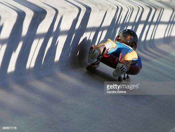 Samantha Retrosi of the United States of America competes in the Womens Luge Single event on Day 3 of the 2006 Turin Winter Olympic Games on February...