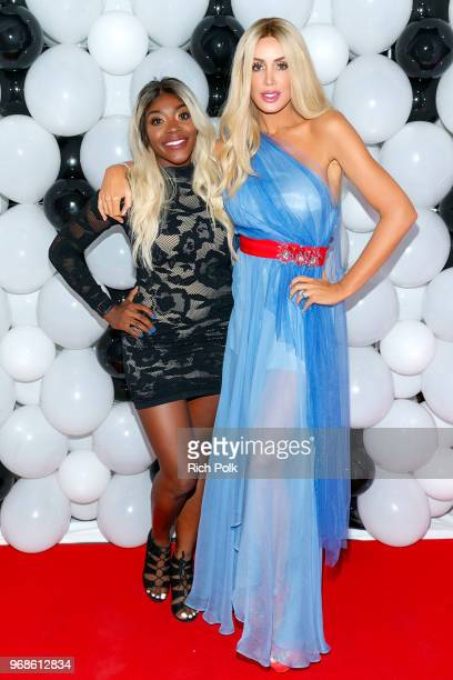 Samantha Robinson and model Kaki Swid attend an event where model Kaki Swid hosts a designer event on June 4 2018 in Beverly Hills California