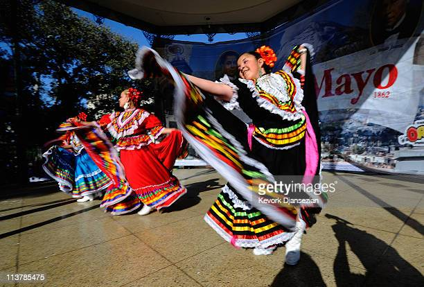 Samantha Romero with Mexica Ballet Folclorico performs during Cinco De Mayo festivities on May 5 2011 at El Pueblo de Los Angeles Historic Site on...