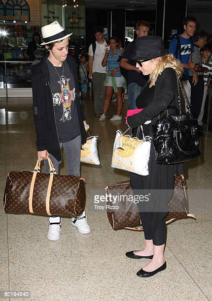 Samantha Ronson and Lindsay Lohan are seen at Miami International Airport on August 6 2008 in Miami Florida