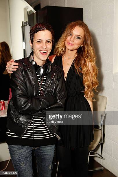 Samantha Ronson and Lindsay Lohan attend the Jenni Kayne and Andy Lecompte Salon Party at the Andy Lecompte Salon on February 5 2009 in West...