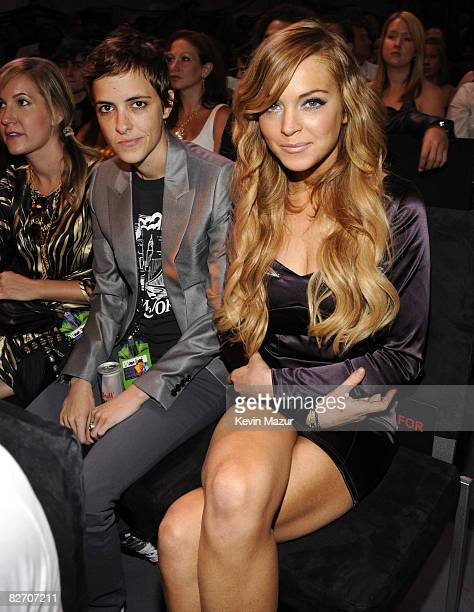 Samantha Ronson and Lindsay Lohan in the audience at the 2008 MTV Video Music Awards at Paramount Pictures Studios on September 7 2008 in Los Angeles...