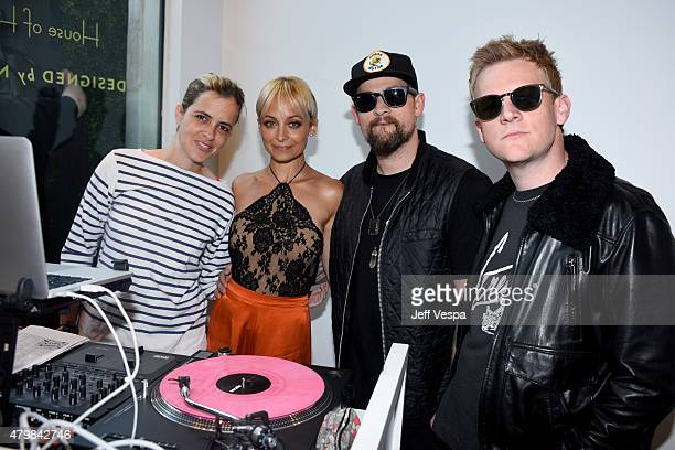 DJ Samantha Ronson Nicole Richie singer Joel Madden and Josh Madden attend VH1's Candidly Nicole Season 2 Premiere Event at House of Harlow at The...