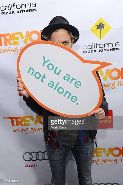 Samantha Ronson poses in the Getty Images and Wonderwallcom photo booth and green room at 'Trevor Live' honoring Katy Perry and Audi of America for...