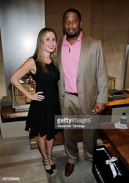 Samantha Scharf and Randy Starks are seen at David Yurman InStore Shopping Event Hosted by Randy Starks To Benefit The Florida Breast Cancer...