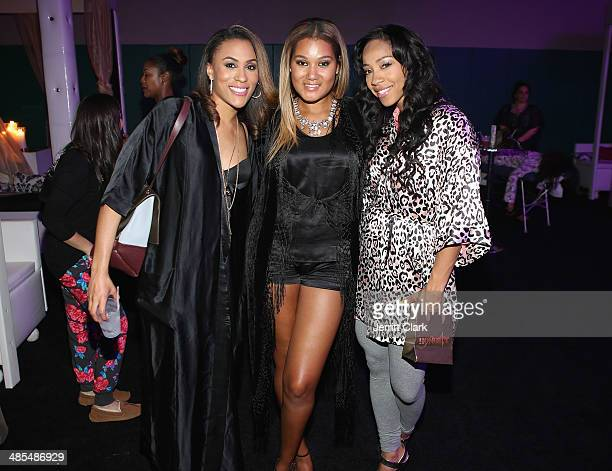 Samantha Shipp Elaina Watley and Terricka Cromartie attend Ladies Night In Benefiting Not For Sale on April 17 2014 in Alpine New Jersey