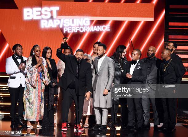 Samantha Smith Lauren London DJ Khaled and John Legend accept the Best Rap/Sung Performance award for 'Higher' onstage during the 62nd Annual GRAMMY...