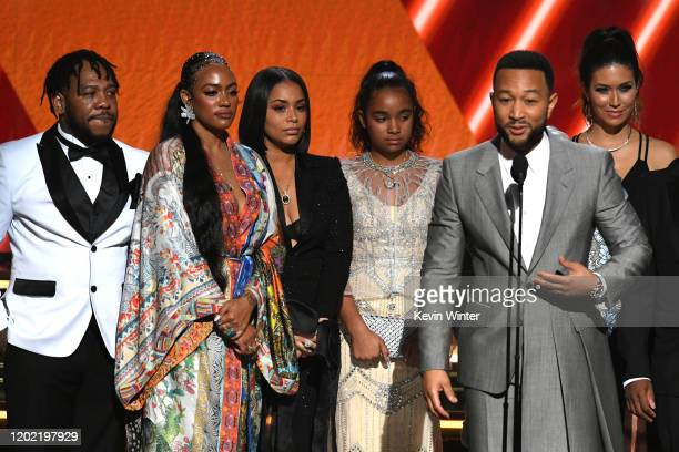 Samantha Smith Lauren London Emani Asghedom and John Legend accept the Best Rap/Sung Performance award for 'Higher' onstage during the 62nd Annual...