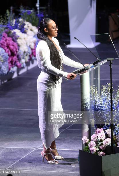 Samantha Smith speaks onstage during Nipsey Hussle's Celebration of Life at STAPLES Center on April 11 2019 in Los Angeles California Nipsey Hussle...