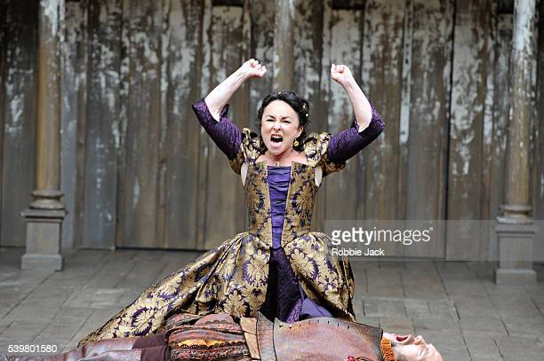 Samantha Spiro as Kate and Simon Paisley Day as Petruchio in William Shakespeare's The Taming of the Shrew directed by Toby Frow at Shakespeare's...