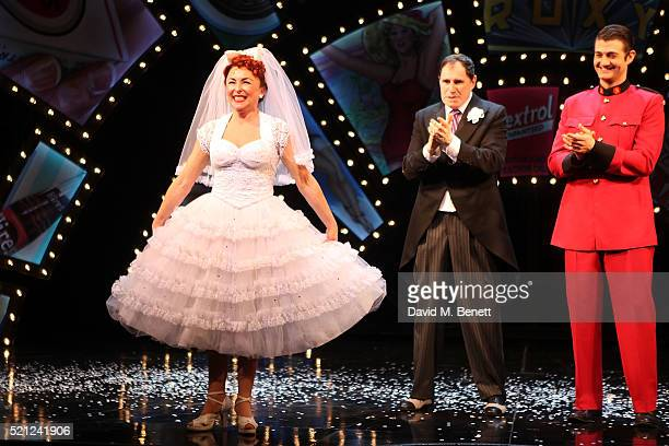 Samantha Spiro Richard Kind and Oliver Tompsett bow at the curtain call during the press night performance of 'Guys And Dolls' at The Phoenix Theatre...
