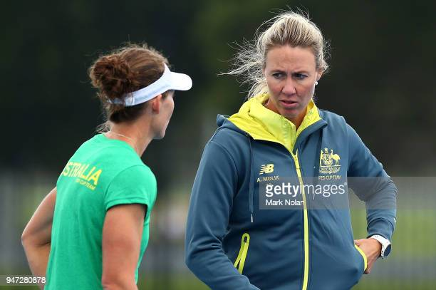 Samantha Stosur and Alicia Molik chat during a media opportunity ahead of the Australia v Netherlands Fed Cup World Group Playoff at Wollongong...