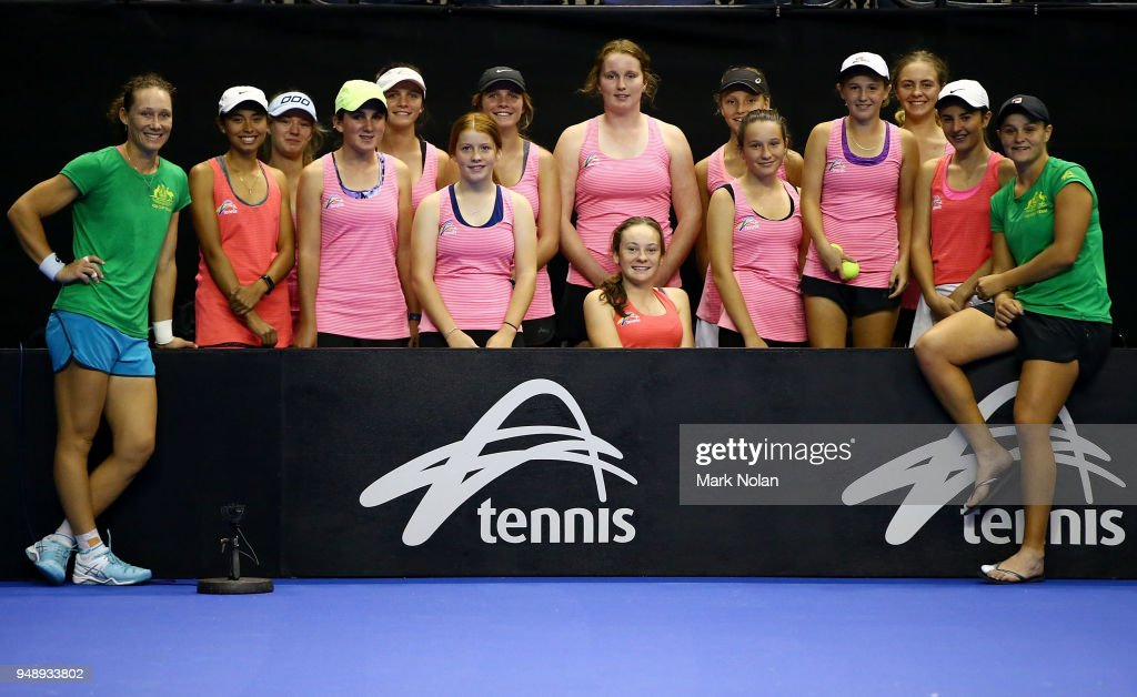 Training Sessions: Australia v Netherlands - Fed Cup World Group Play-off : News Photo