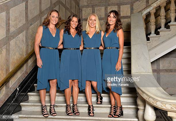 Samantha Stosur Casey Dellacqua Daria Gavlirova and Arina Rodionova pose for a photo during the Fed Cup Official Dinner on April 14 2016 in Brisbane...