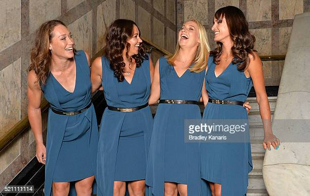 Samantha Stosur Casey Dellacqua Daria Gavlirova and Arina Rodionova share a laugh at a photo shoot before the Fed Cup Official Dinner on April 14...