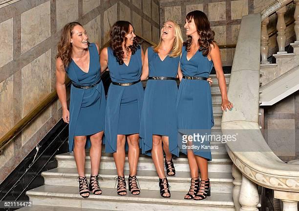 Samantha Stosur Casey Dellacqua Daria Gavlirova and Arina Rodionova share a laugh at a photo shoot before the Fed Cup Official Dinner on April 14...