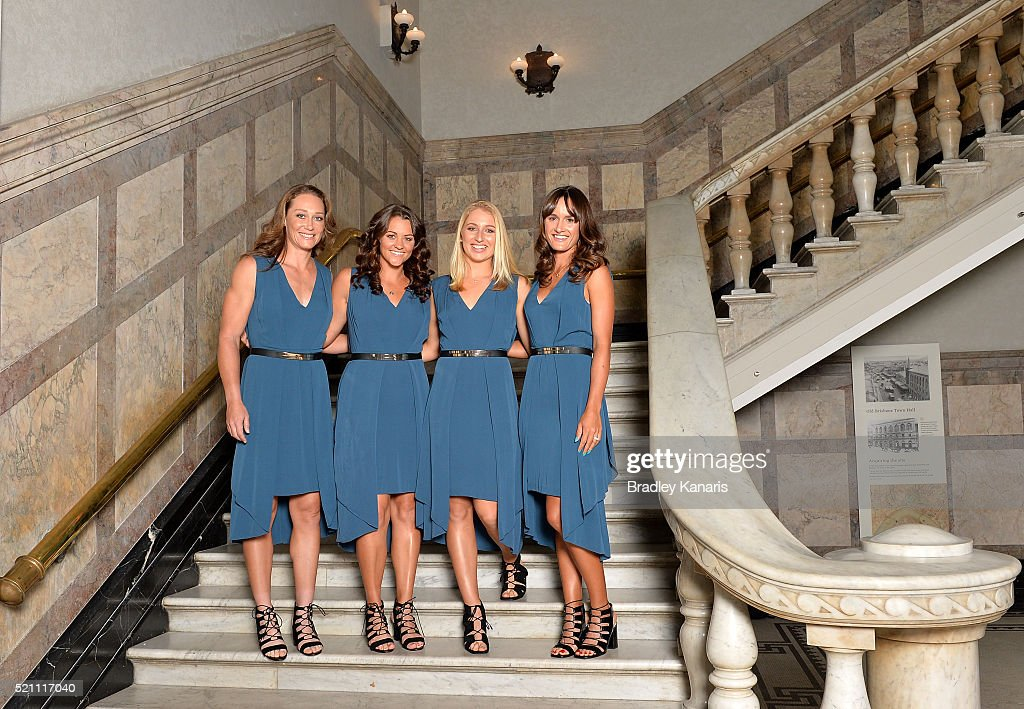 Samantha Stosur, Casey Dellacqua, Daria Gavlirova and Arina Rodionova pose for a photo before the Fed Cup Official Dinner on April 14, 2016 in Brisbane, Australia.