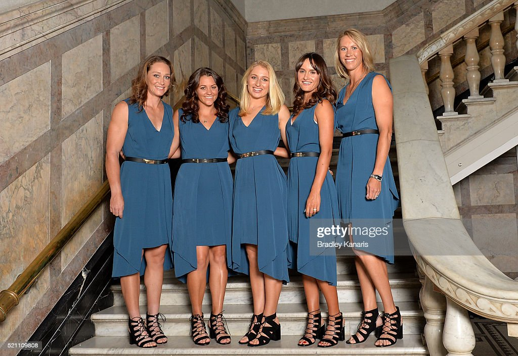 L-R) Samantha Stosur, Casey Dellacqua, Daria Gavlirova, Arina Rodionova and Alicia Molik pose for a photo during the Fed Cup Official Dinner on April 14, 2016 in Brisbane, Australia.